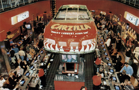 And Las Vegas Own Nascar Cafe Which Includes Carzilla The World S Largest Stock Car Above Bar In Por New Race Themed Restaurant